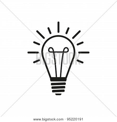 The Lightbulb Icon. Illumination Symbol. Flat