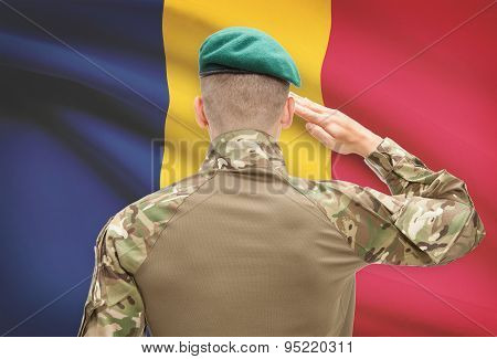 National Military Forces With Flag On Background Conceptual Series - Chad