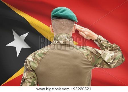 National Military Forces With Flag On Background Conceptual Series - East Timor