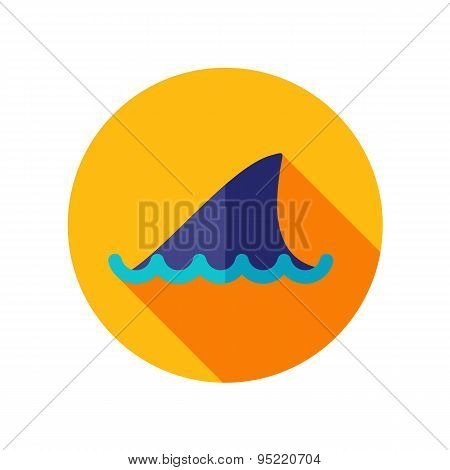 Shark Fin Flat Icon With Long Shadow