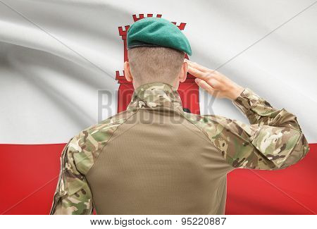 National Military Forces With Flag On Background Conceptual Series - Gibraltar