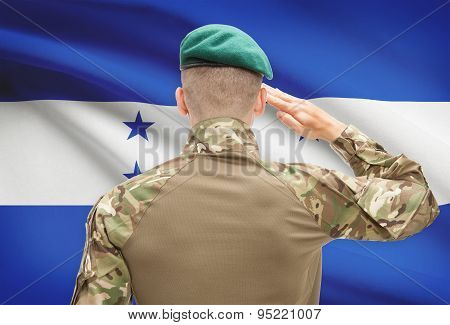 National Military Forces With Flag On Background Conceptual Series - Honduras