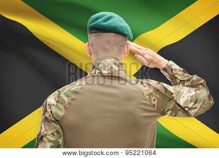 National Military Forces With Flag On Background Conceptual Series - Jamaica