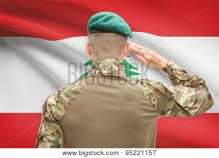 National Military Forces With Flag On Background Conceptual Series - Lebanon
