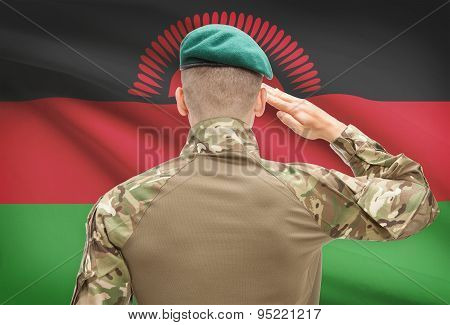 National Military Forces With Flag On Background Conceptual Series - Malawi