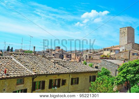 San Gimignano Landscape On A Clear Summer Day