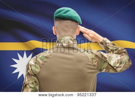 National Military Forces With Flag On Background Conceptual Series - Nauru