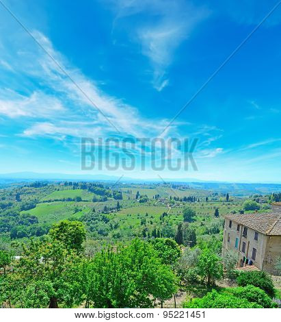 Tuscany Panorama Seen From San Gimignano