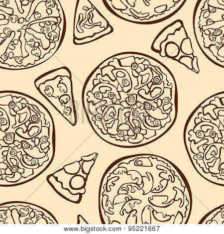 Pizza. Vector seamless illustration, which depicts pizza with different toppings