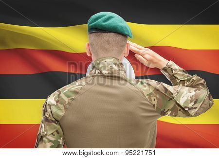 National Military Forces With Flag On Background Conceptual Series - Uganda