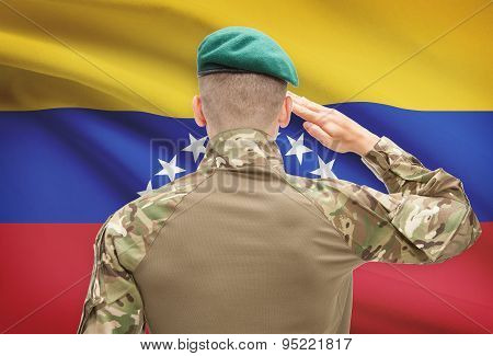 National Military Forces With Flag On Background Conceptual Series - Venezuela