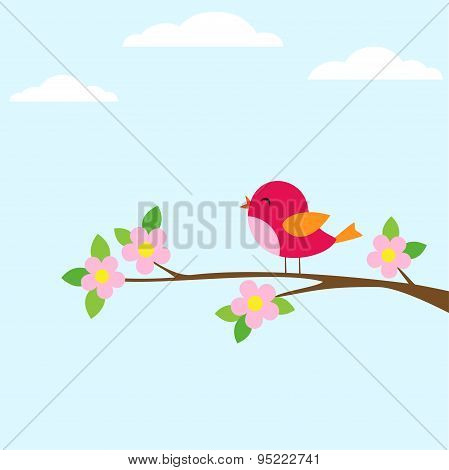 Bird On Blooming Branch
