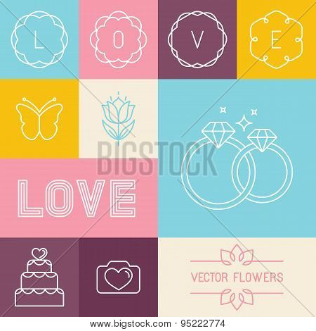 Vector Set Of Linear Icons For Wedding Invitations