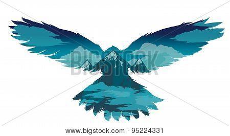 Bird Vector Illustration With Double Exposure Effect.