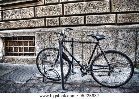 Bicycle In A Bike Rack In Bologna