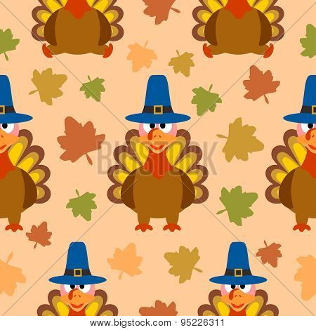 Thanksgiving seamless background with turkey