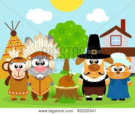 Thanksgiving day background,with funny animals