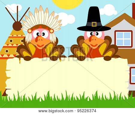 Thanksgiving day background with turkey indian and turkey pilgrim