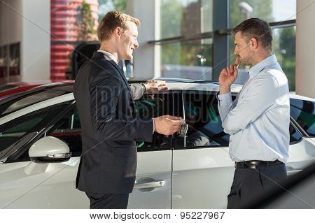 Car Agent Showing Vehicle