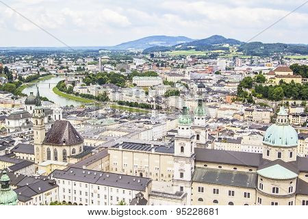 view of the center of Salzburg  from Hohensalzburg Fortress