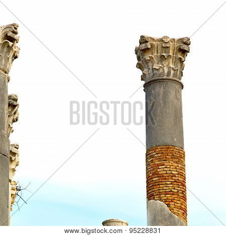 Old Column In The Africa Sky History And Nature