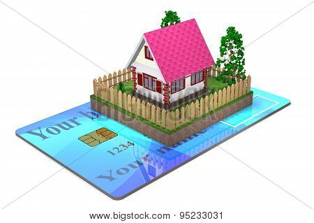 Residential House And A Bank Card.