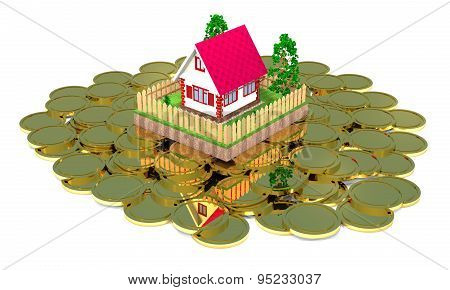 Residential House And Gold Coins.