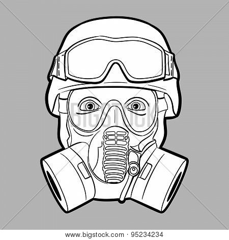 Soldier with gas mask - editable vector graphic