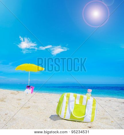 Cooler Bag On The Sand In A Tropical Beach