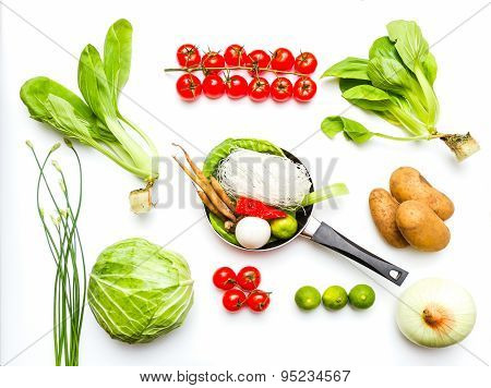 Vegetables For Cooking And Healthy On White Background.
