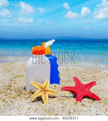 Bottles And Starfish By The Sea