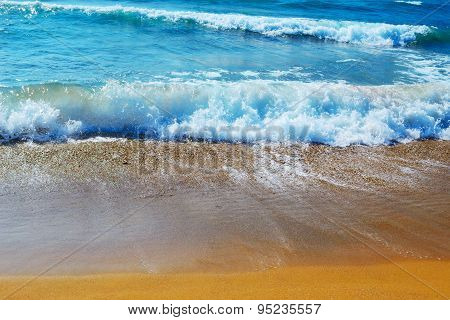 Small Waves By The Shore In Sardinia