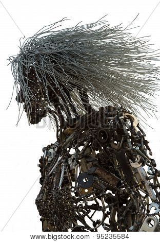 Metal Woman Against A White Background