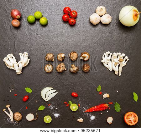 Spices And Vegetable For Healthy And Cooking.