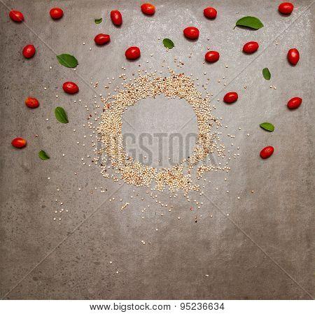 Tomato vegatable on stone background.