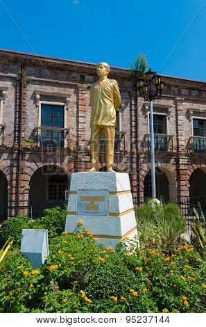 NAGA CITY, PHILIPPINES - MAY 28, 2015: Statue of st Lorenzo Ruiz de manila. He s a Filipino saint venerated in the Roman Catholic Church and became the country's martyr after his execution in Japan.