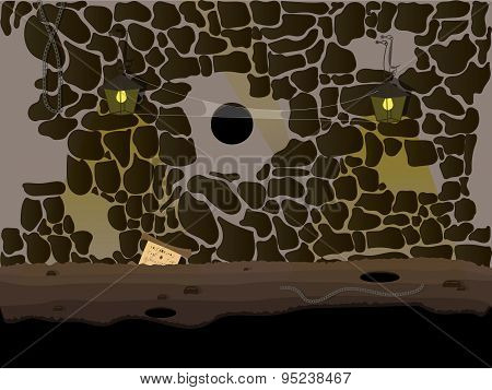 Vector Seamless Cartoon Nature Landscape, Underground Cave Endless Background With Lighting Of Lamps