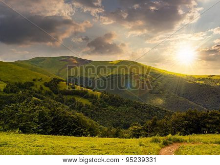 Path Through The Forest In Mountains At Sunset