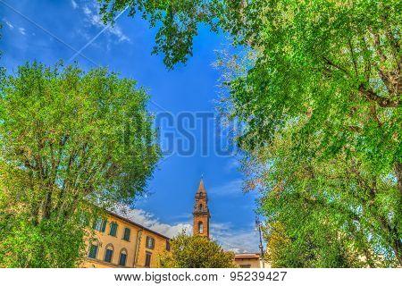 Santo Spirito Steeple Seen Through Green Trees