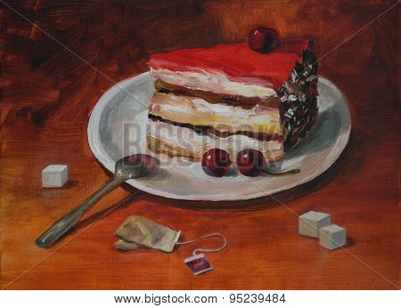 Piece of cake on the saucer oil painting