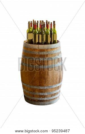 Wine Bottles Stacked On Wooden Racks Shot.