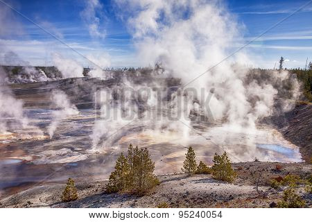 Steam In Norris Geyser Basin