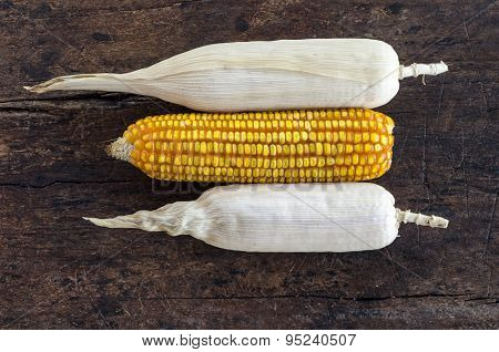 Bunch of corn cobs on a wooden background .