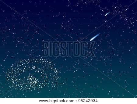 Background Is Dark Blue Starry Sky With Comets