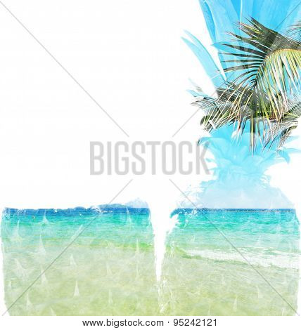 Pineapple And Beach In Double Exposure