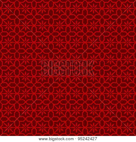 Seamless vintage Chinese window tracery octagonal star flower pattern background.