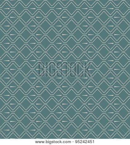 Seamless elegant vintage zig zag wave line and dot pattern background.