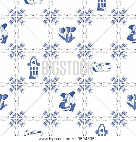 Seamless Pattern With Dutch Ornaments (deflt Blue Style)