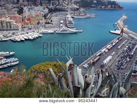 Nice (cote D'azur, France) With Harbor, Ships And Lighthouse