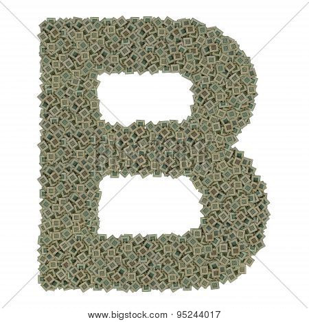 letter B made of old and dirty microprocessors, isolated on white background